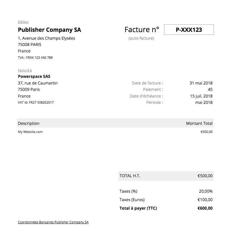Exemple d'auto-facture Editeur