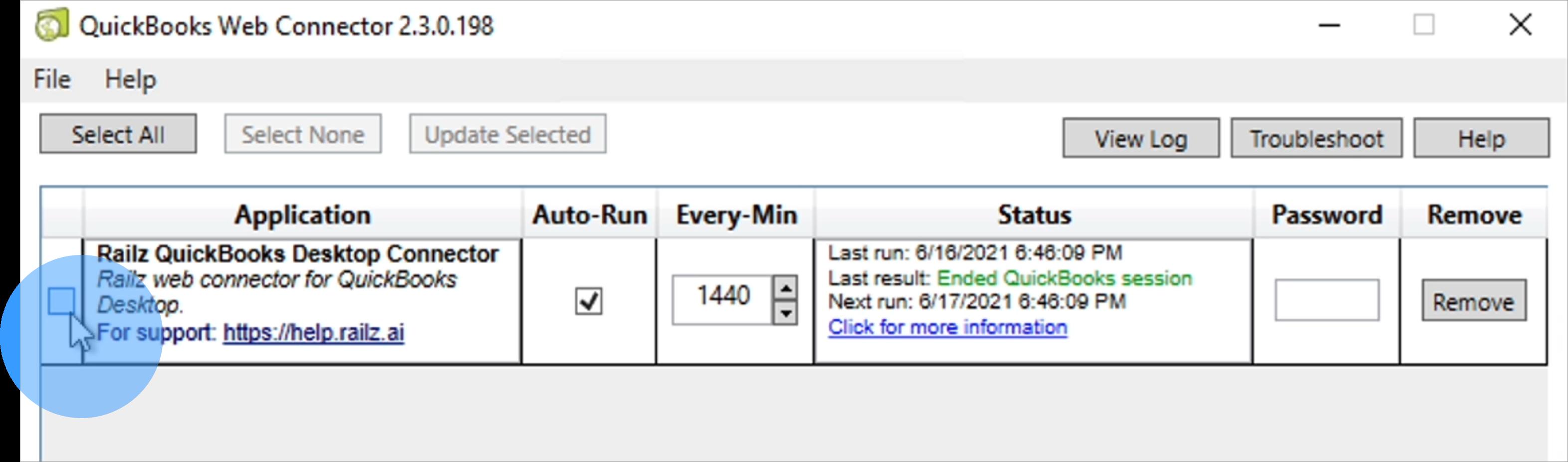 Railz Connect - QuickBooks Desktop Password prompt. Click to Expand.