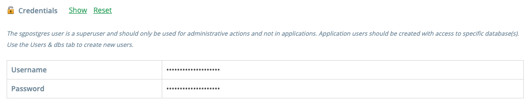 """Click the """"Show"""" button to see your PostgreSQL cluster credentials."""