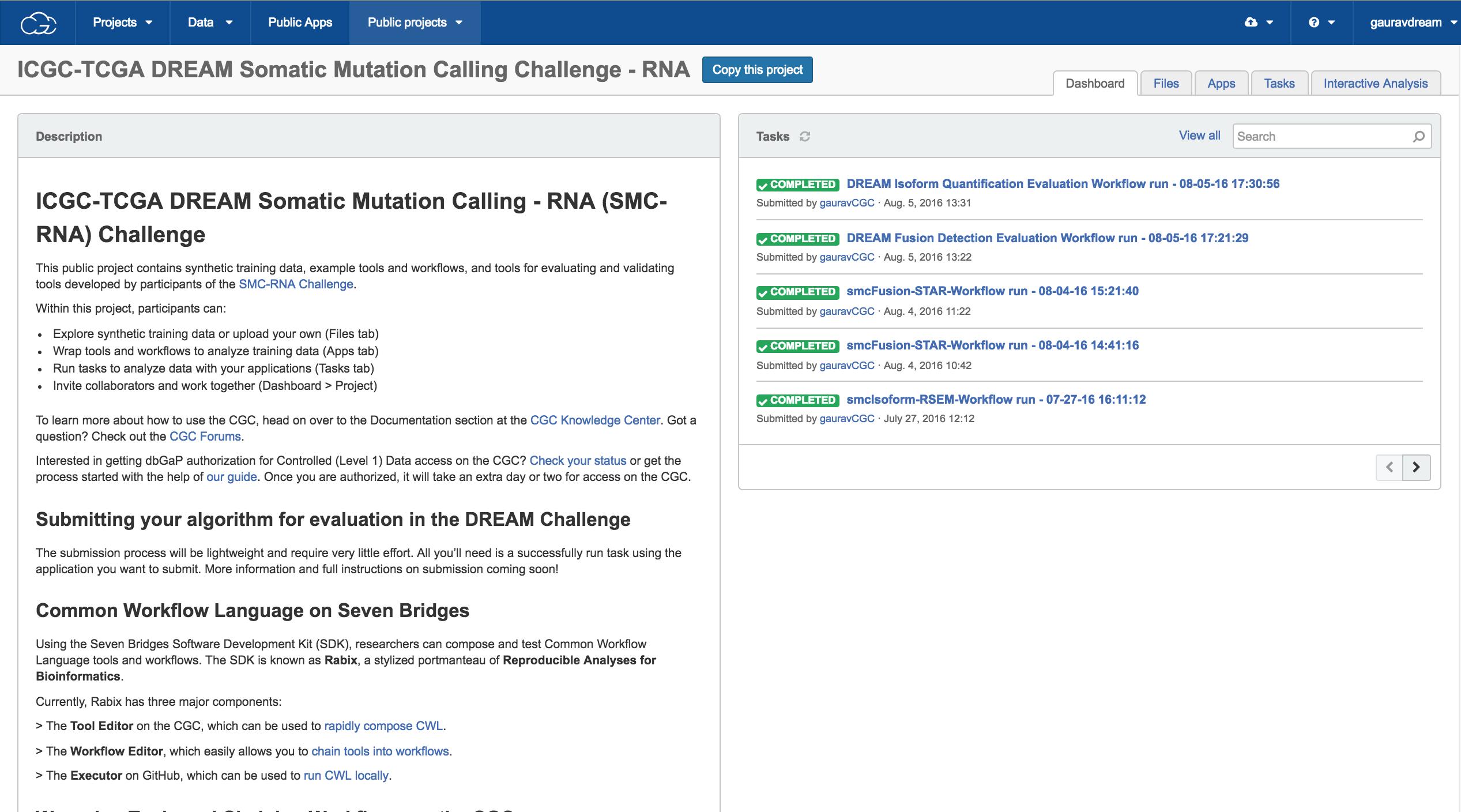 DREAM Challenge on Cancer Genomics Cloud