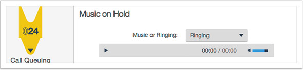 Select either ringing or music on hold