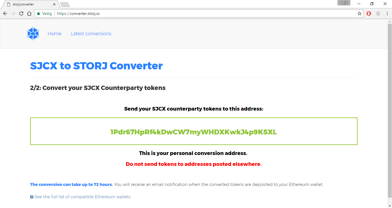 *Figure 3.2. The converter will now return a SJCX address to where we have to send our tokens.*