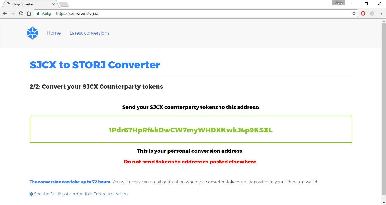 *図3.2。 コンバータはSJCXアドレスをトークンを送信する場所に返します。