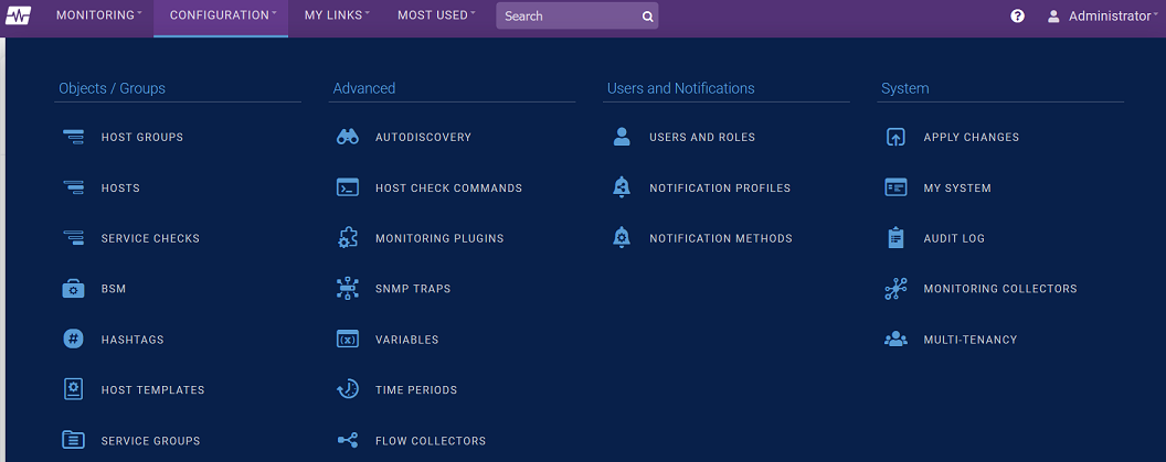 Configuration Navigation Menu Screenshot