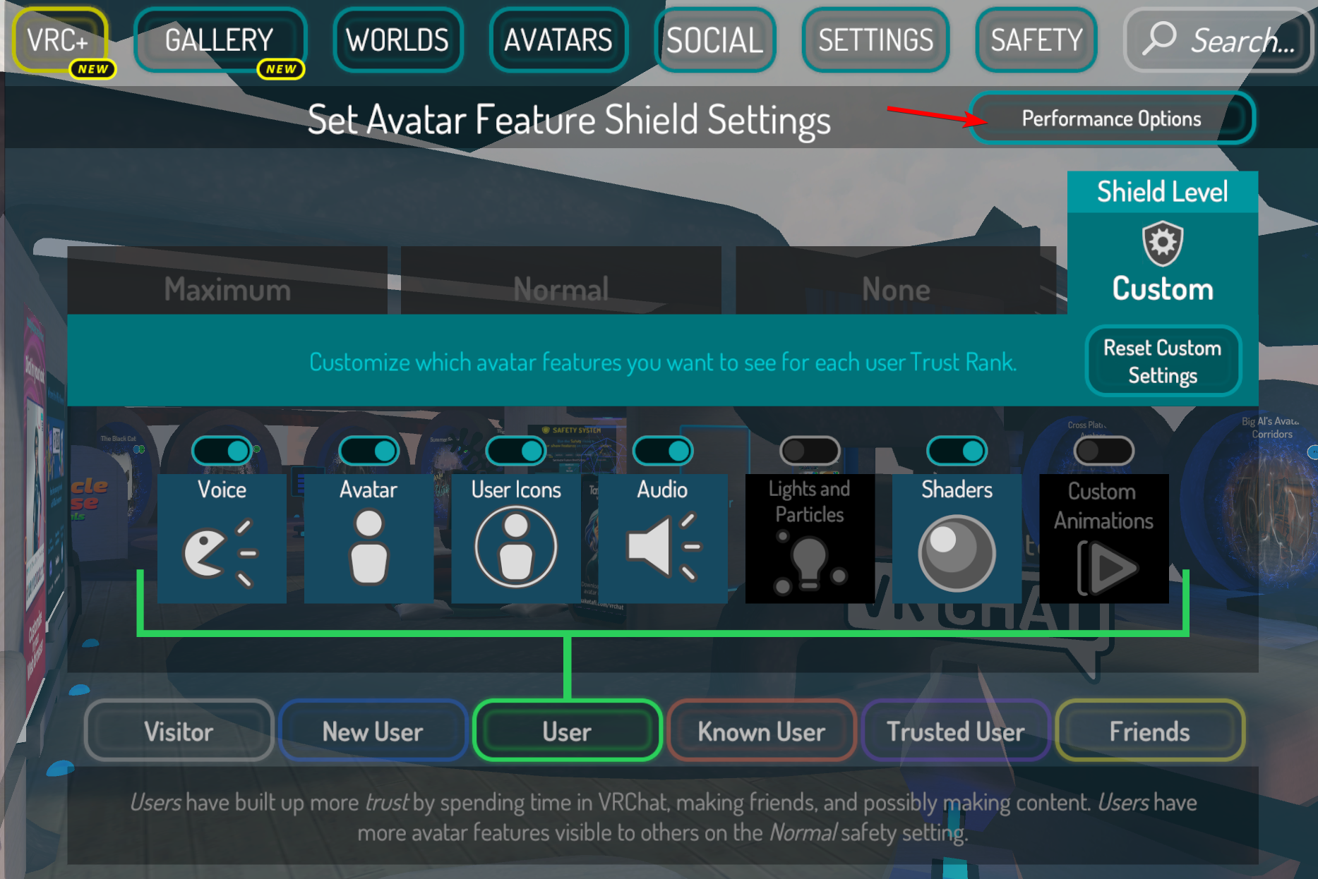 You can find the Performance Options button in the top right.