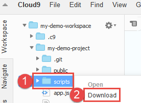 Downloading Files to Your Computer · Cloud9