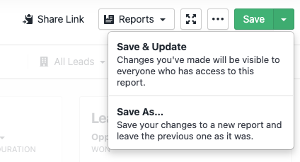 A dropdown showing options for saving a report