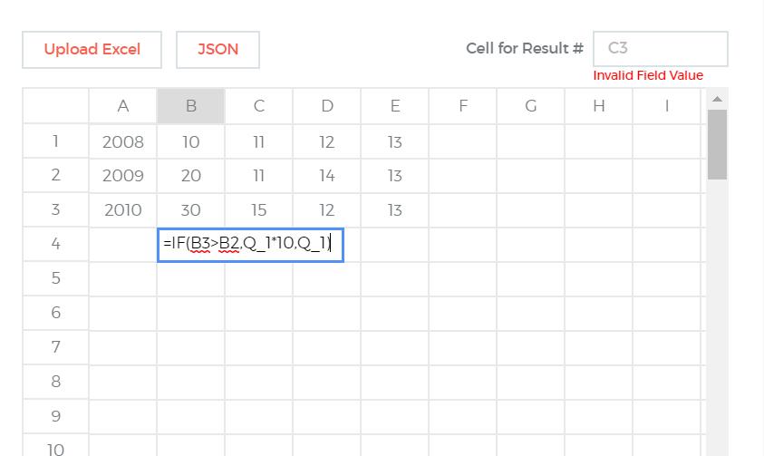 Excel in formula builder