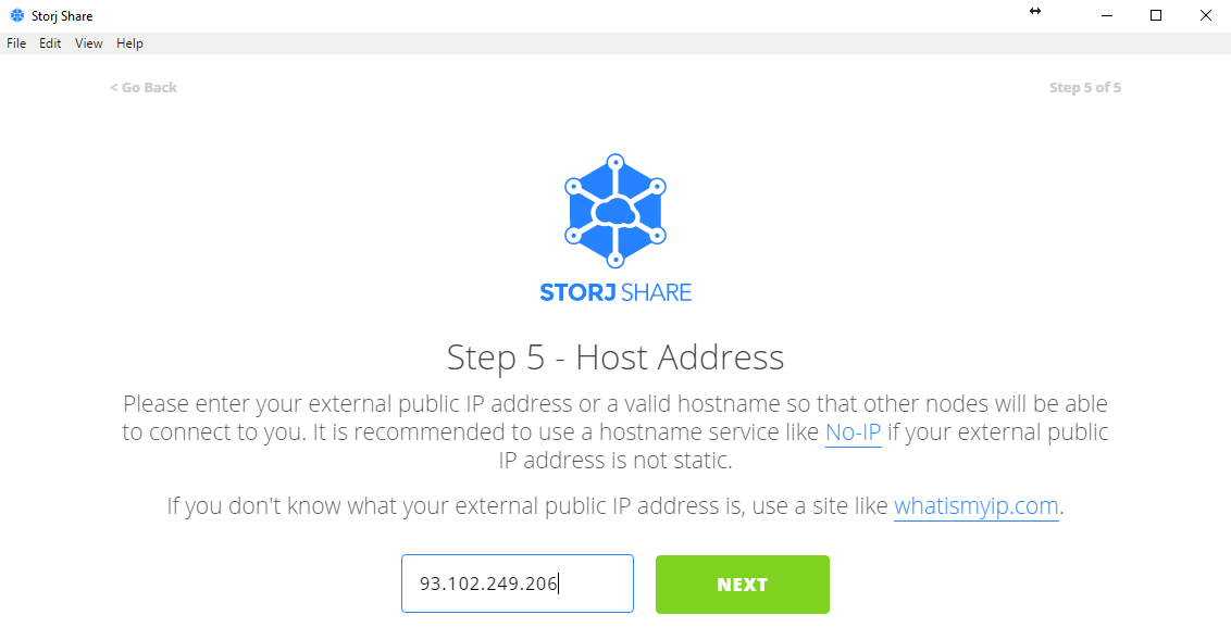 "*Figure 3.32. Enter your static public IP address or hostname and click on ""Next"".*"