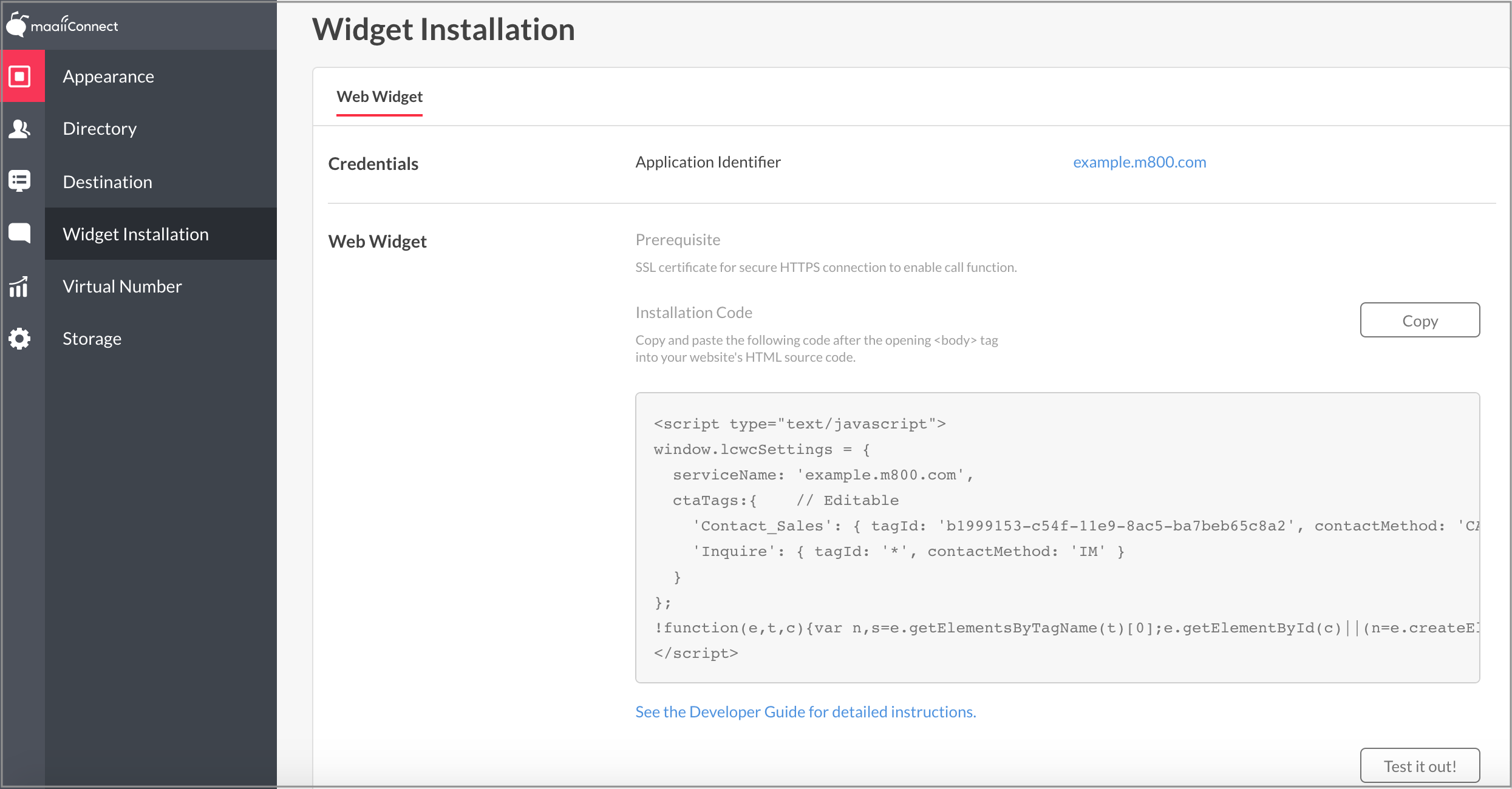 Widget Installation Page