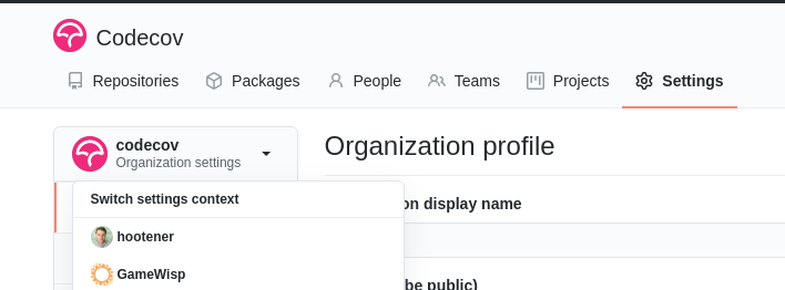 You can use the drop down in the left sidebar of the Settings page in GitHub to access your organization.