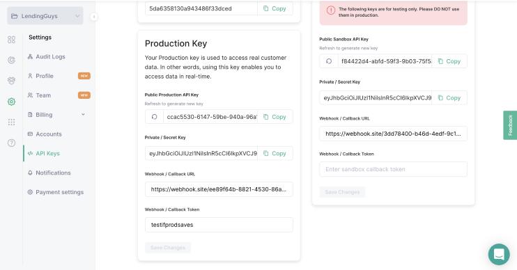 API keys tab in the Okra Dashboard
