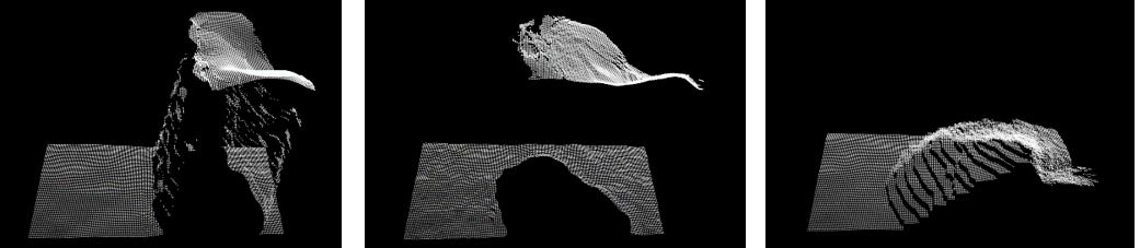 Fig. 16: Point cloud of captured surface and moving object above background. Simple average (left) and IIR filter (right) show false depth between surfaces, whereas the median filter (middle) shows no false-depth artifacts.
