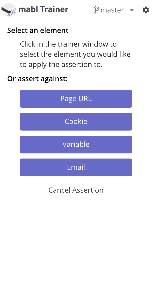 """Choose to assert against """"Cookie"""""""