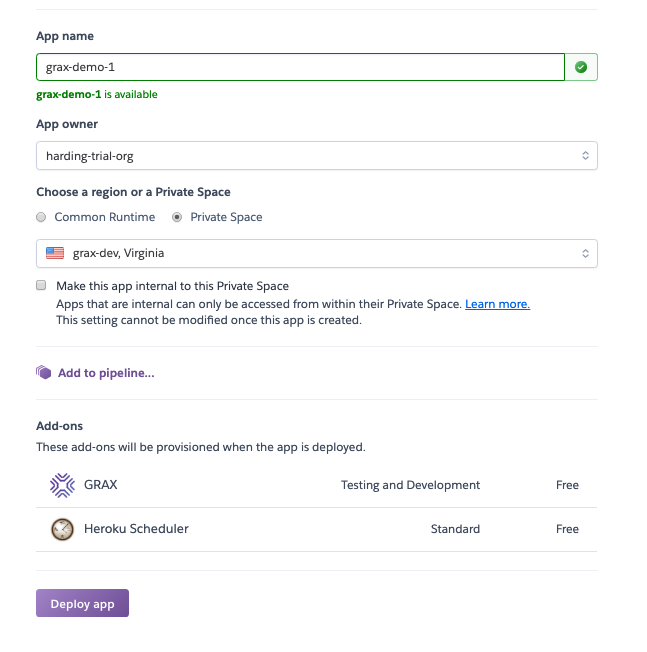 Once you fill out the details of your Heroku app and click `Deploy app`, you can go back into Salesforce.