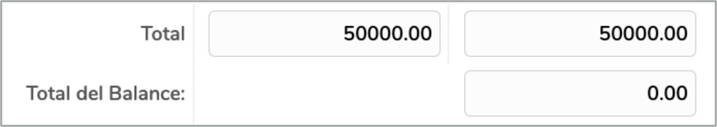 Observación: El total del balance debe estar en cero (0); de no ser así,  el sistema no le permitirá proceder a guardarlo en la plataforma.