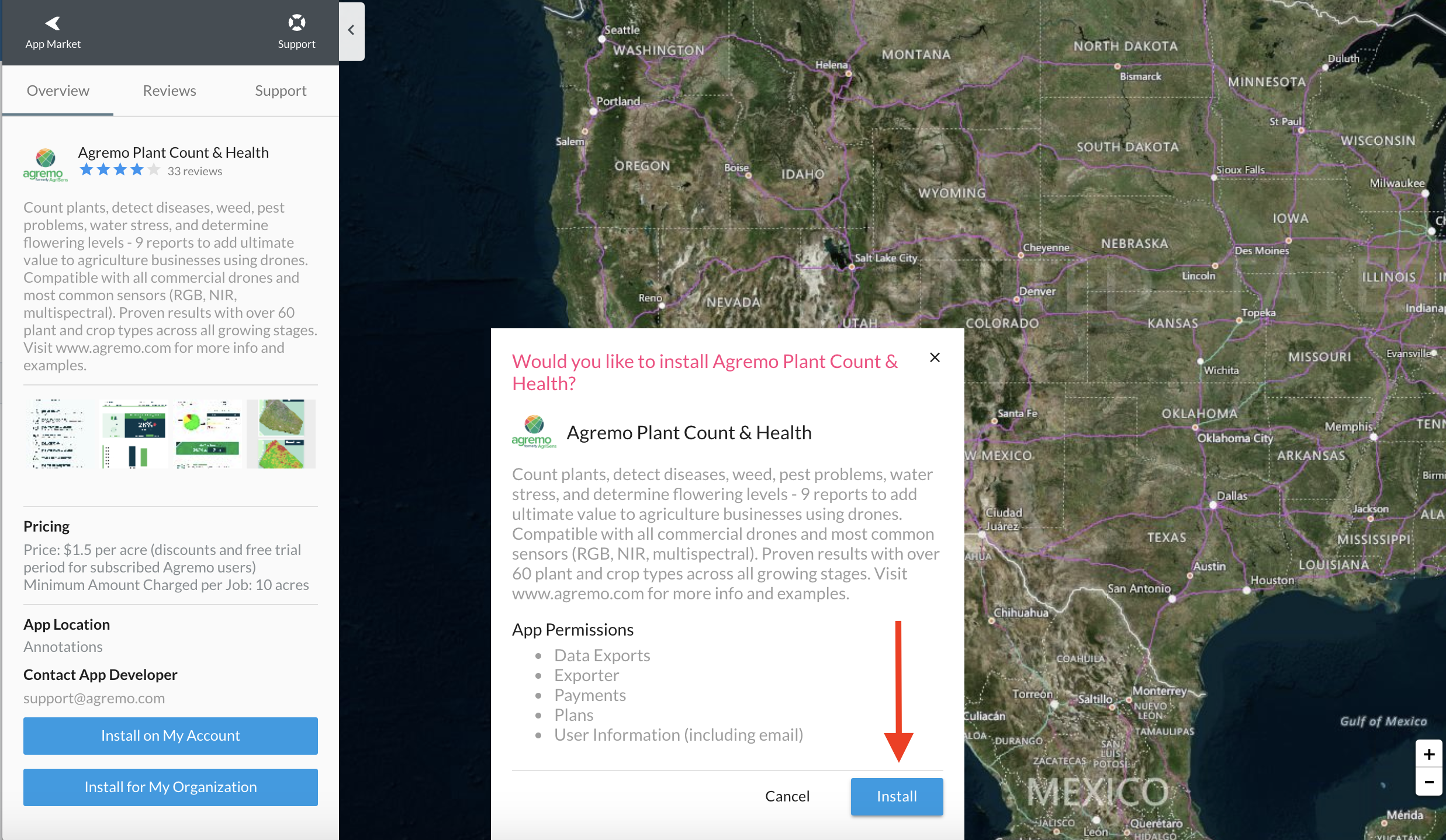 Install Agremo App from the DroneDeploy App Market