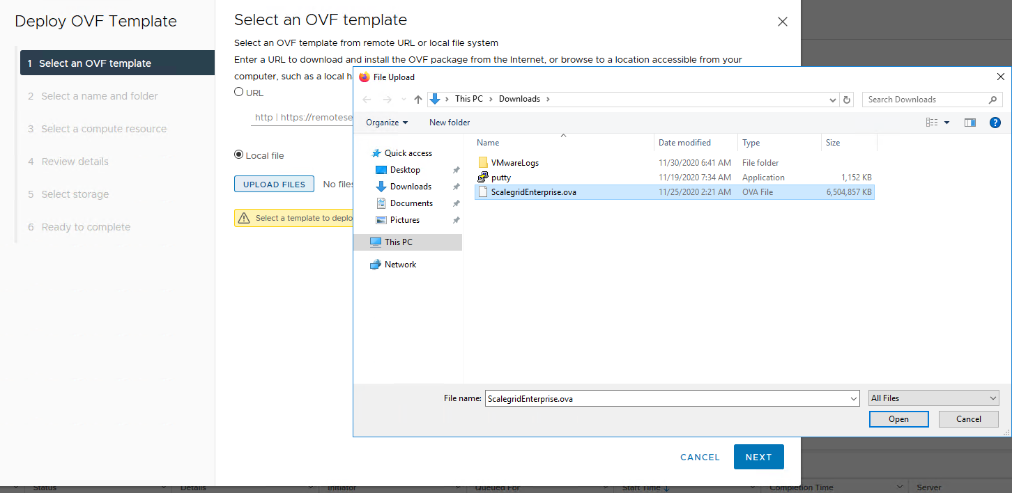 Select an OVF template