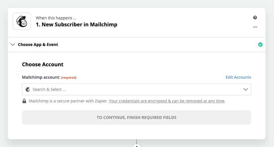 Step 1 - New Subscriber in Mailchimp