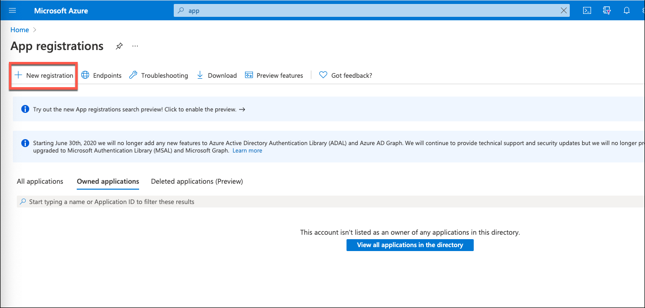 Azure Portal - New App Registration