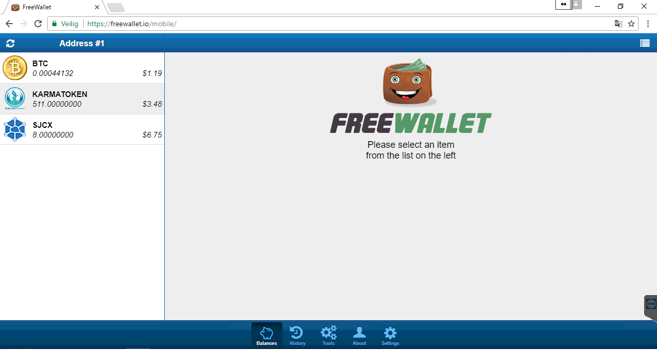 *Figure 4.3. Freewallet dashboard.*