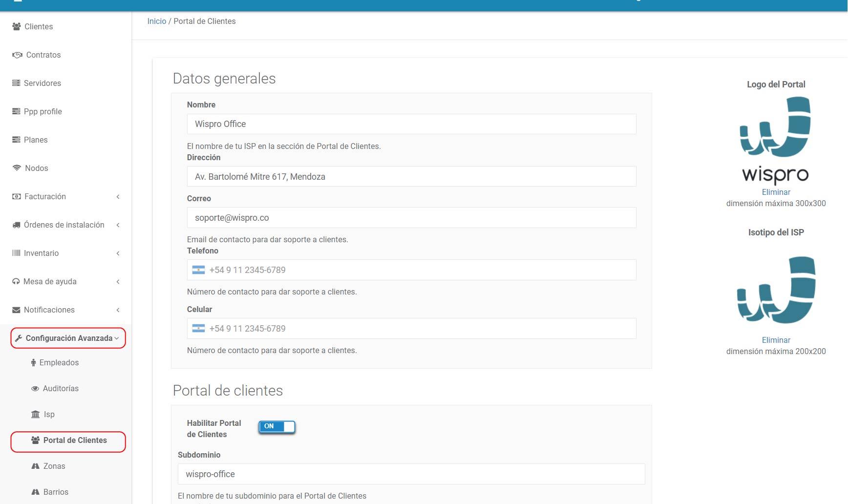 Modelo ejemplo de Portal de Clientes Wispro