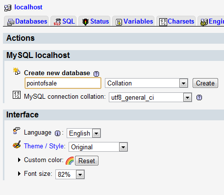 Creating a database in phpMyAdmin
