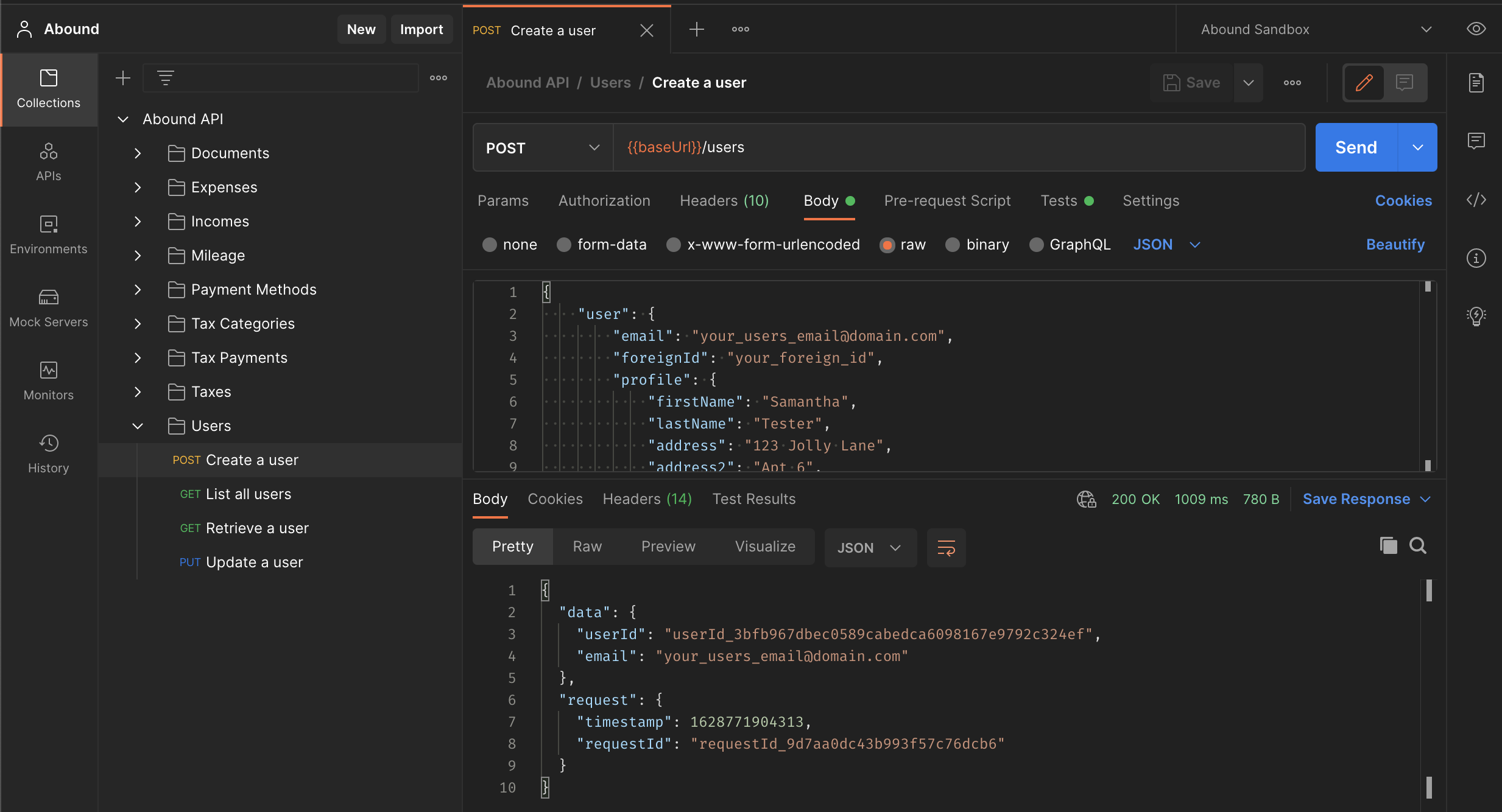 Creating a user with the Abound API Postman collection