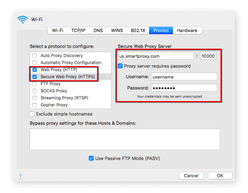 Mac proxy setup example