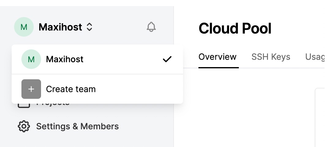 Creating a Team from the Maxihost Dashboard