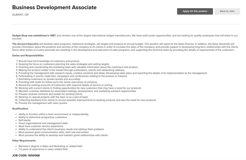 Sample Job Description on ATS Anywhere Dashboard