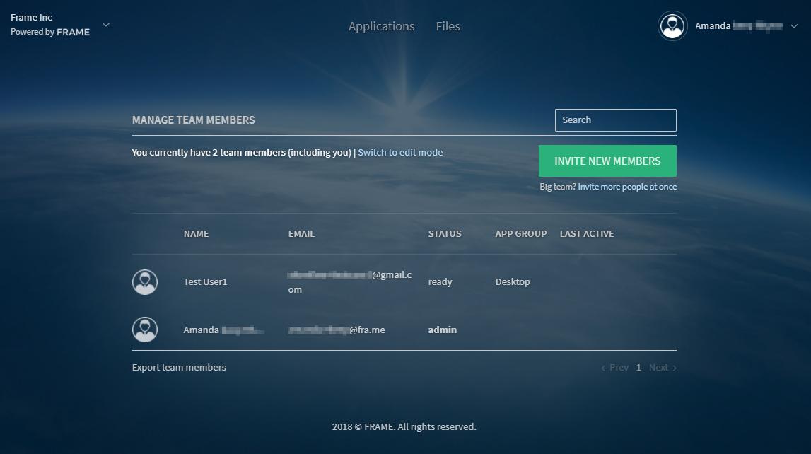 Invite users · Frame Documentation