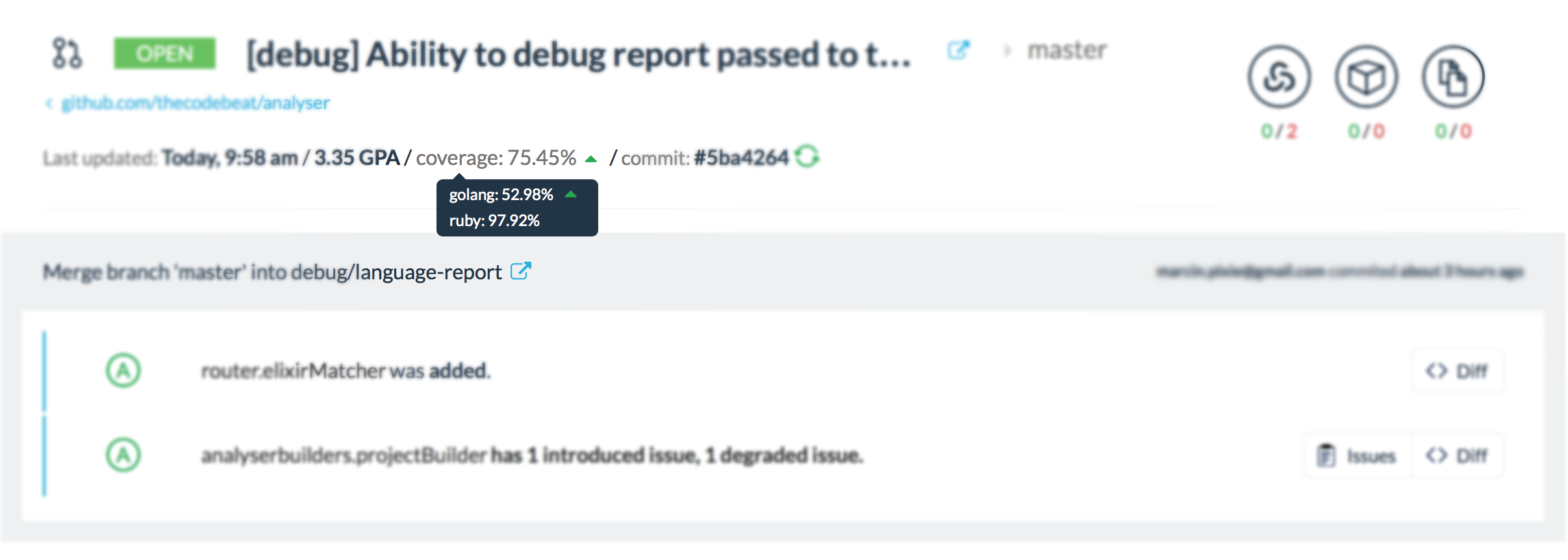 Multi-language code coverage indicator in one of Codebeat's own GitHub pull requests