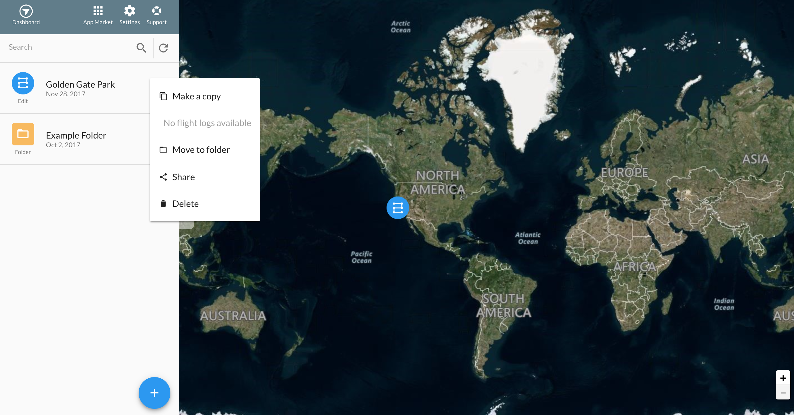 Planning flights on dronedeploy by clicking on the drop down to the right of the mission name you have to option to make a copy move to a folder share or delete the map gumiabroncs Image collections