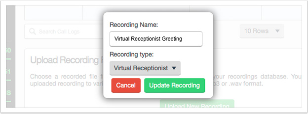 Use the popup box to change the recording's settings