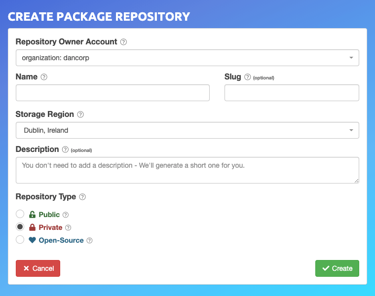 Create Package Repository Form