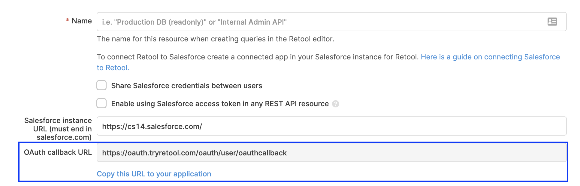 The OAuth Callback URL to use with Salesforce.