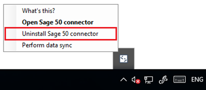Uninstalling the Sage 50 Connector
