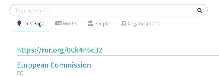 Search box at https://commons.datacite.org/ror.org/00k4n6c32.