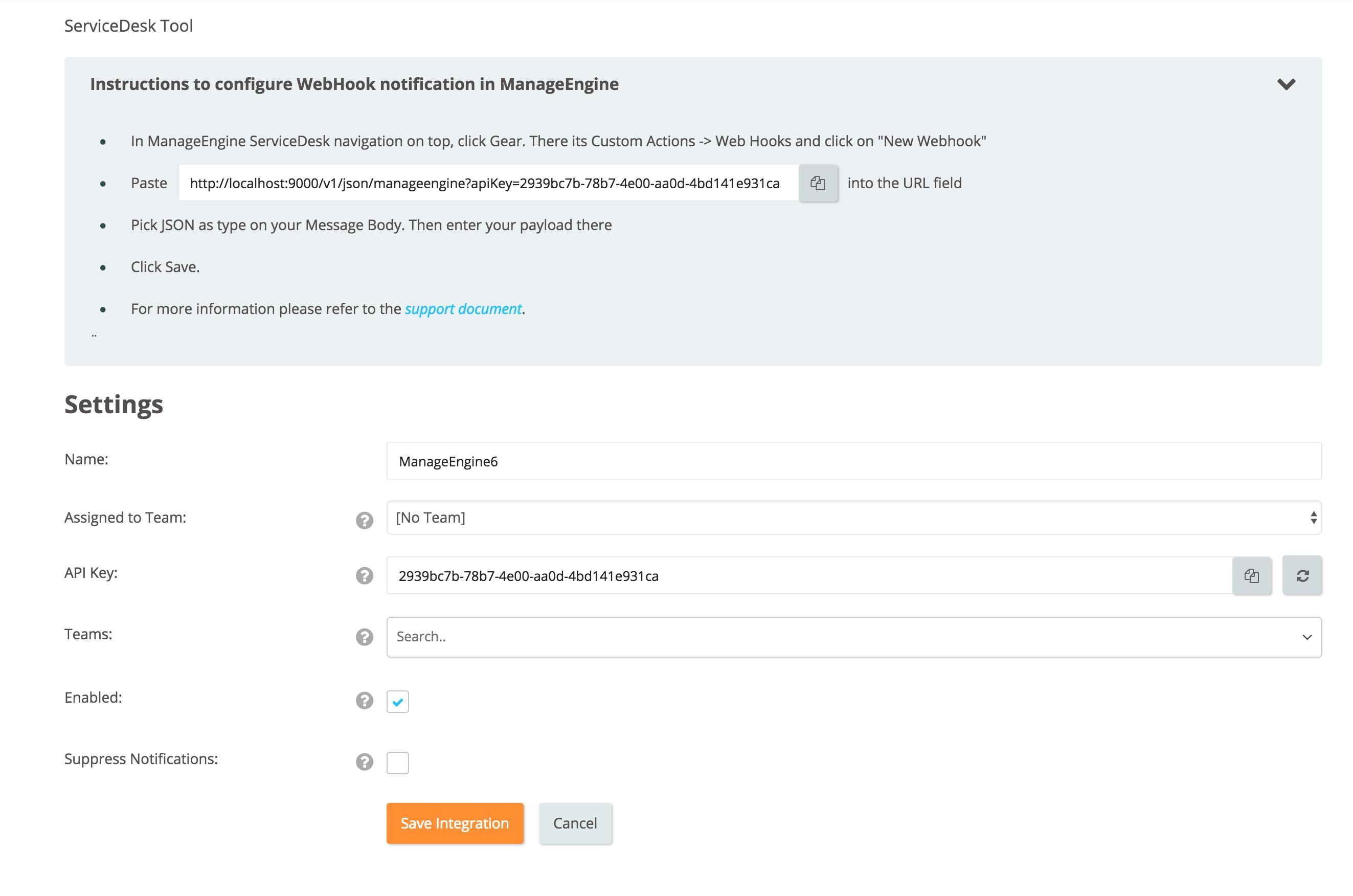 Add ManageEngine ServiceDesk Plus Integration In OpsGenie