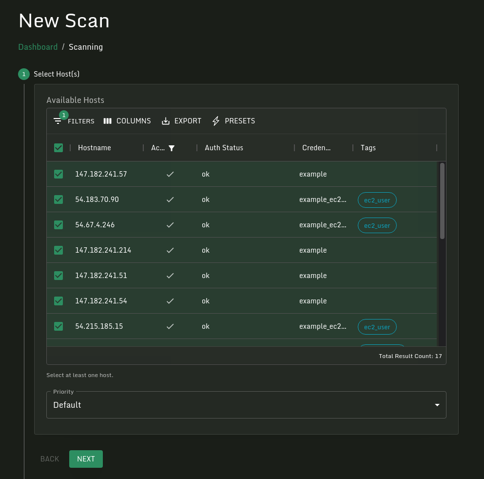 Selecting hosts to scan.