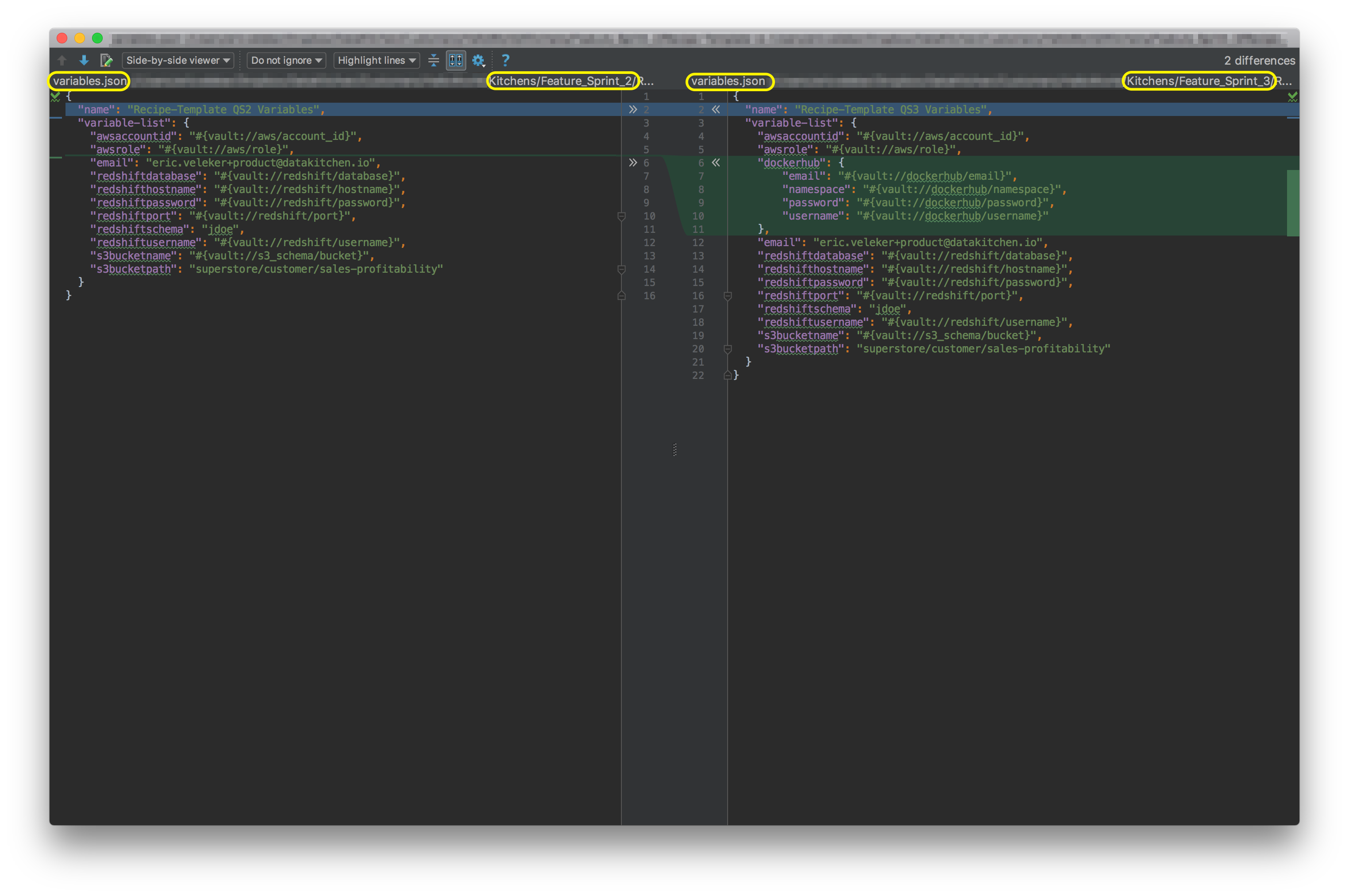 Comparison of **variables.json** from **CLI Quickstart2** and **CLI Quickstart3**.
