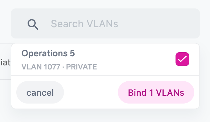 """Select the Virtual Networks you would like to extend to the other party over the Digital Cross Connect by using the Virtual Network search field. This can be one or more Virtual Networks. Select """"Bind"""" once the networks are selected."""