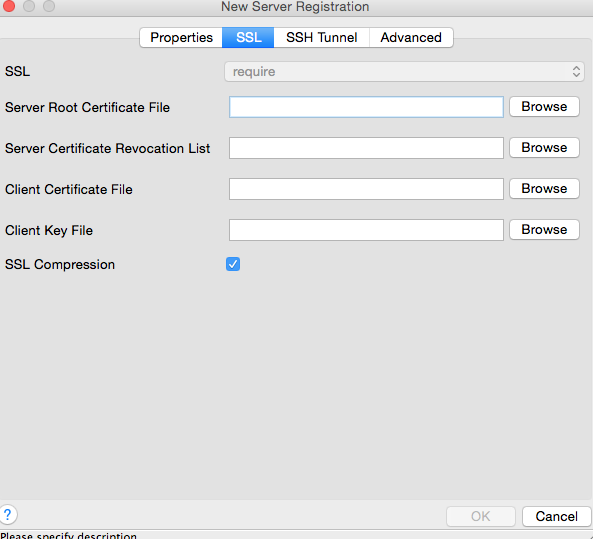 New Server Registration panel in pgAdmin3. SSL tab.