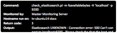 Example 'Test Service Check' output. Note you can scroll down to see further details