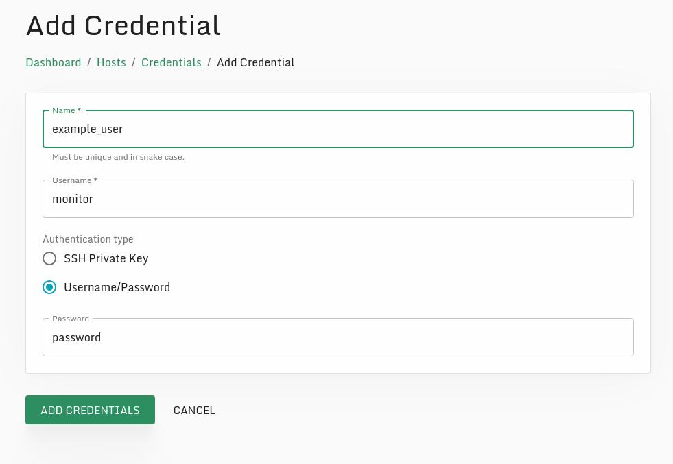 Adding username credentials.