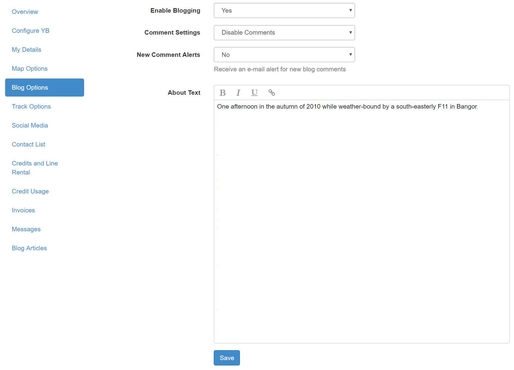 YBlog - Blog Options