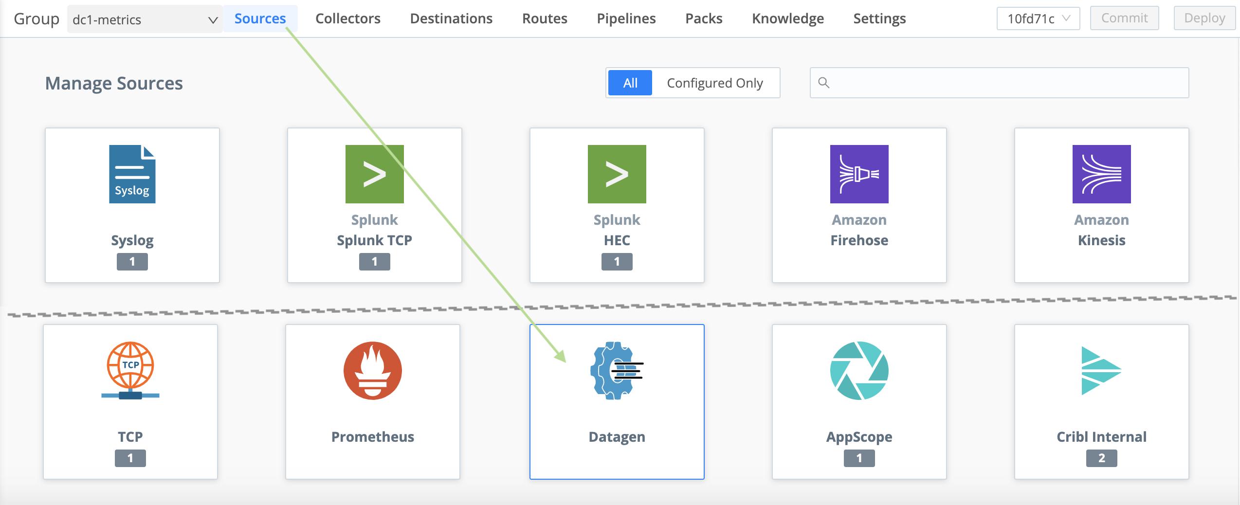 Adding a datagen Source