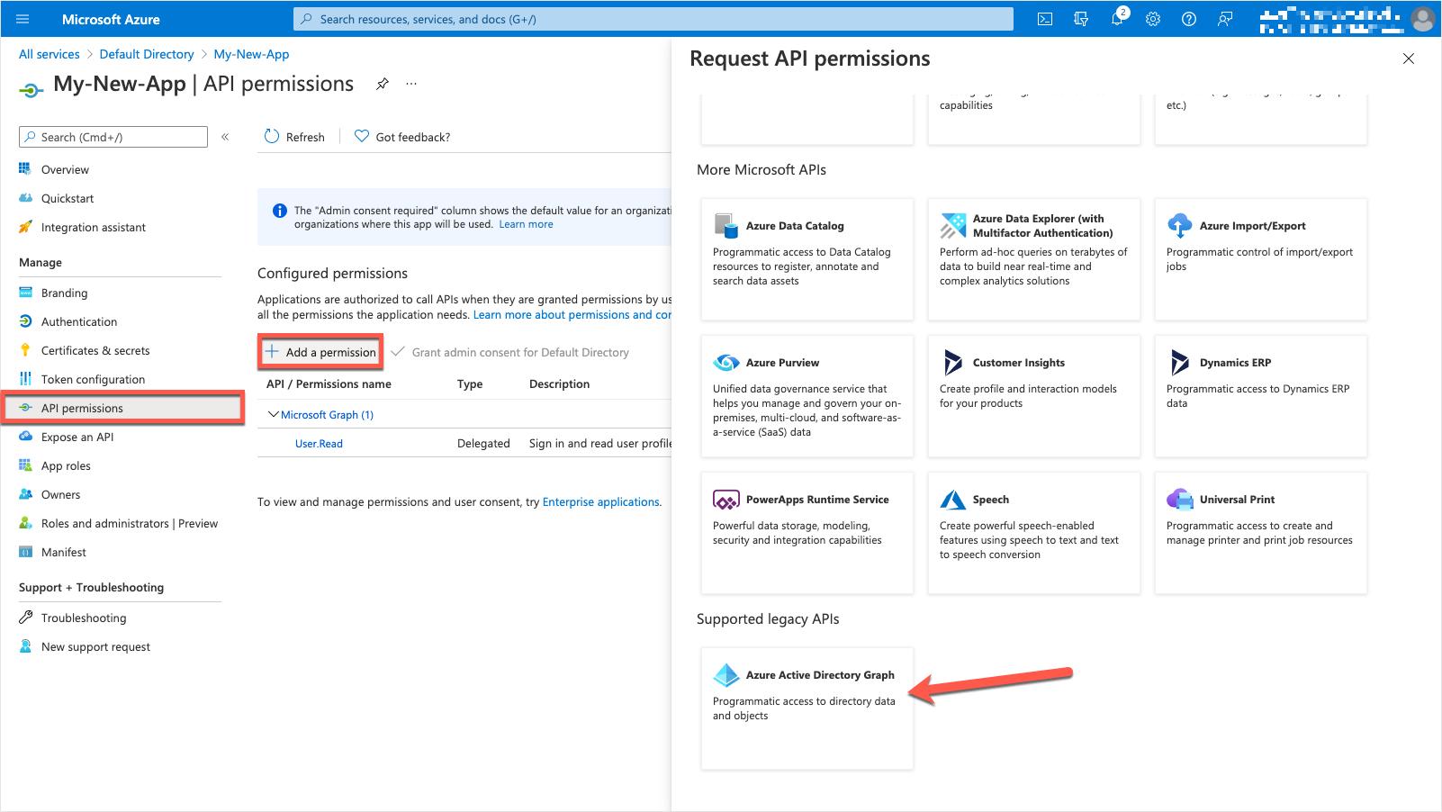 Azure Portal - API Permissions