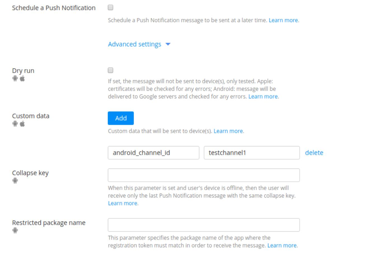 "Push send ""Advanced settings"""